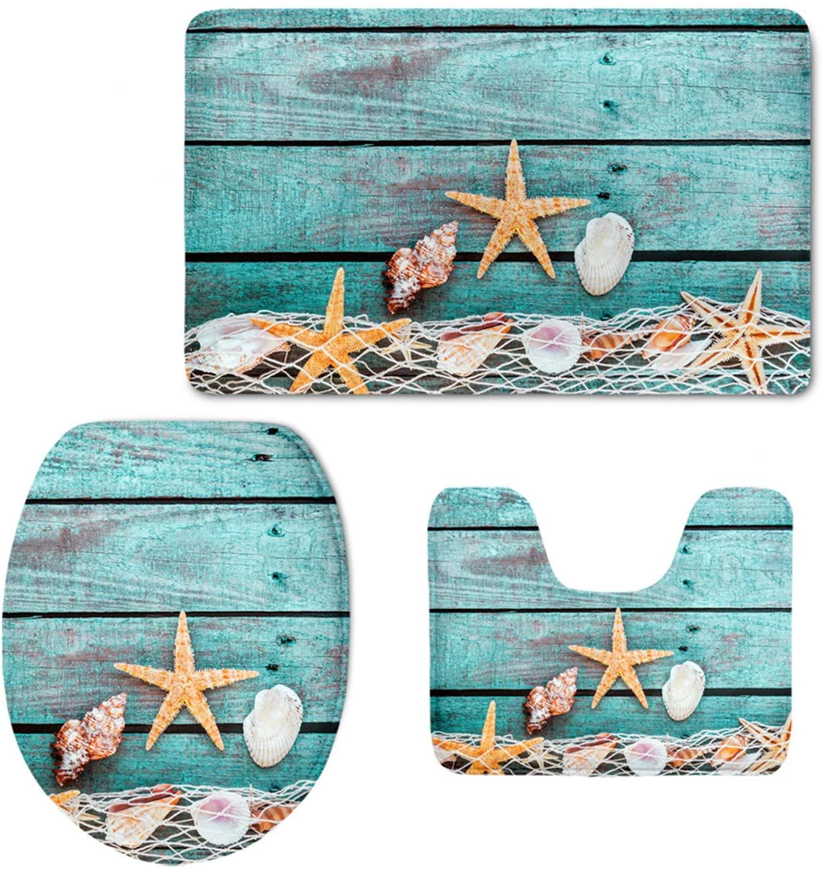 UZZUHI Fashion Fishing Net Board Starfish Scallop Print Bath Mat Set Soft Flannel Bathroom Rug Contour Toilet Lid Cover (3 Piece)