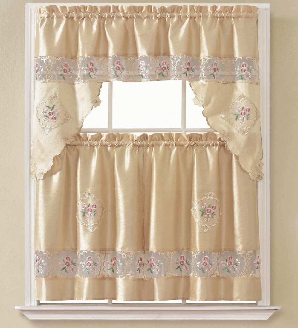B&H Home Sydney Floral Embroidered 3-Piece Kitchen Curtain Window Treatment Set (Sydney Beige)