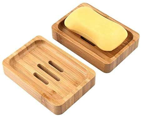 Handmade Wooden Bamboo Soap Dish Tray Case for Bathroom Storage Kitchen Sink Bath Clean Shower Eco-Freindly Holder Dish Plate, (2 Pieces)