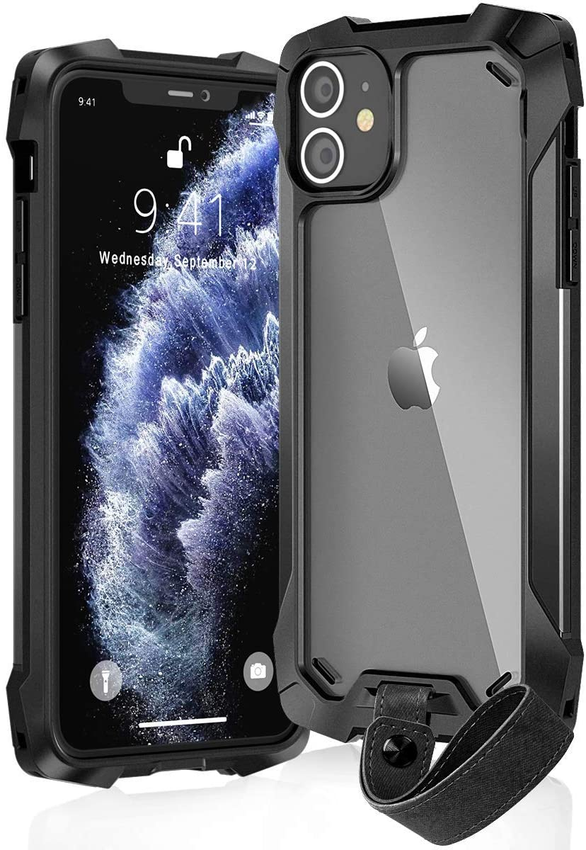 KMMIN iPhone 11 Pro Max Case [Military Grade] 16ft. Drop Tested Airbag Protective Case, Aluminum, TPU and Polycarbonate Shockproof Case Compatible for Apple iPhone 11 Pro Max 6.5-inch 2019(Black)