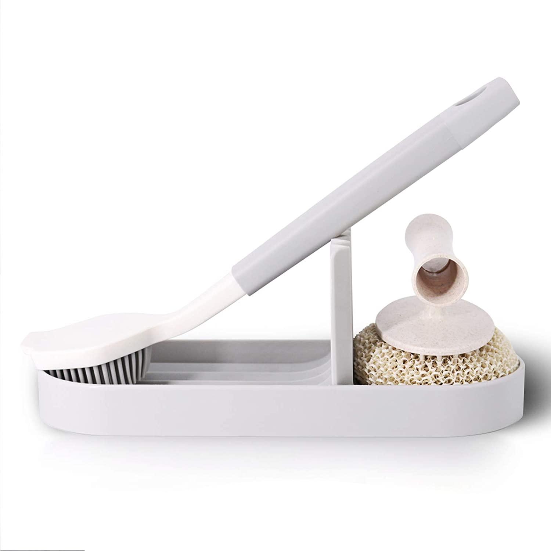 Topsky Plastic Sponges Holder - Kitchen Sink Organizer Tray for Sponge, Brush Holder, Soap Dispenser Holder, Scrubber and Other Dishwashing Accessories,2 Pack, Grey