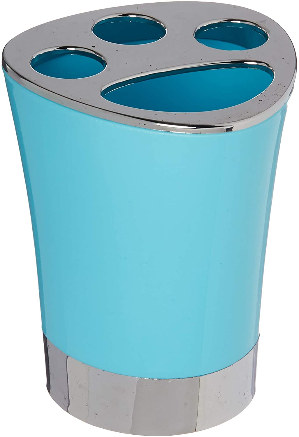 EVIDECO 6318N147 Modern Toothbrush and Toothpaste Holder with Chrome Base, 3.15 L x 3.15 W x 4.05 H, Aqua Blue