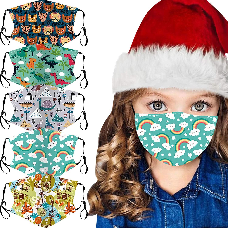 MOHOLL 5PCS Kids Printed Face_Masks, Anti-Haze Dust Cotton Breathable Reusable Face+Bandanas Mouth Protective