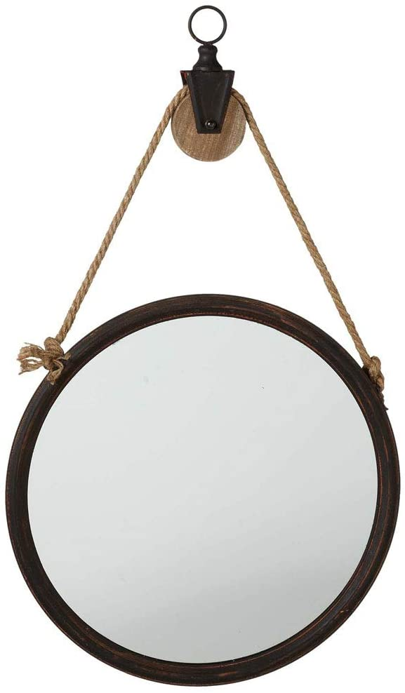 Ganz Rusted Wall Mirror on Pulley Hanger, 16 3/8