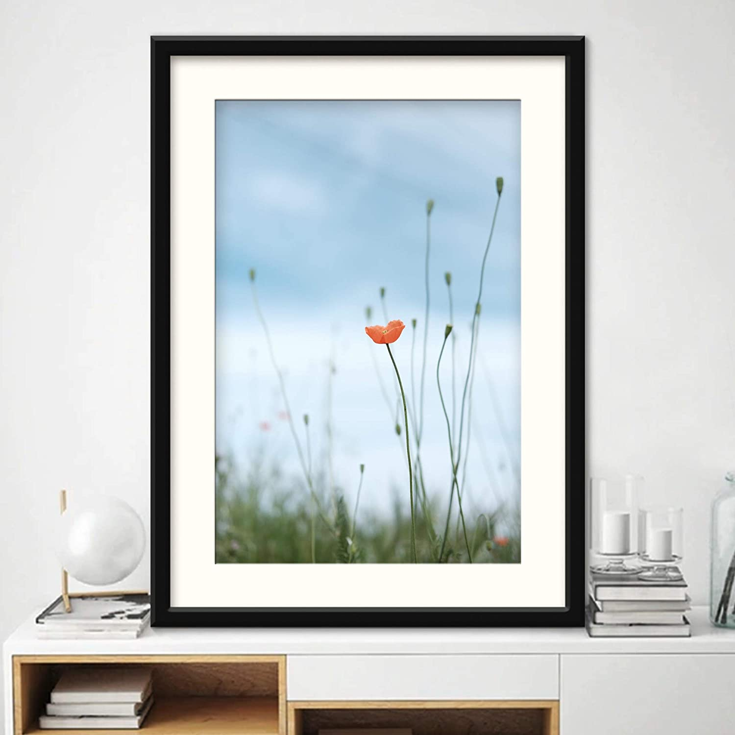 H5print Framed Canvas Wall Art Lone Flower in Field Bohemian Colorful Floral Group Multicolor Photography Artwork Black Frame - 23x31 inches