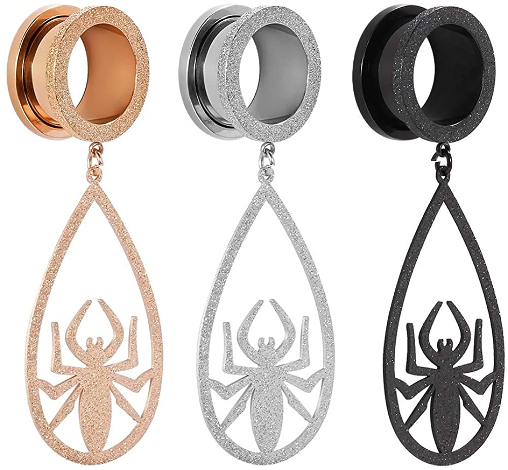 TBOSEN 2 PCS Spider Dangle Gauges for Ears Stainless Steel Dangle Plugs and Tunnels Screw Strechers 2g - 1 inch