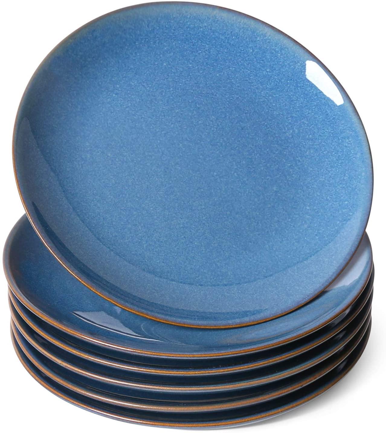 LE TAUCI 8.5 Inch Salad Plates, Ceramic Reactive Glaze Dessert Plate Set 6 Piece, Appetizers Dishes Set of 6, Ceylon Blue