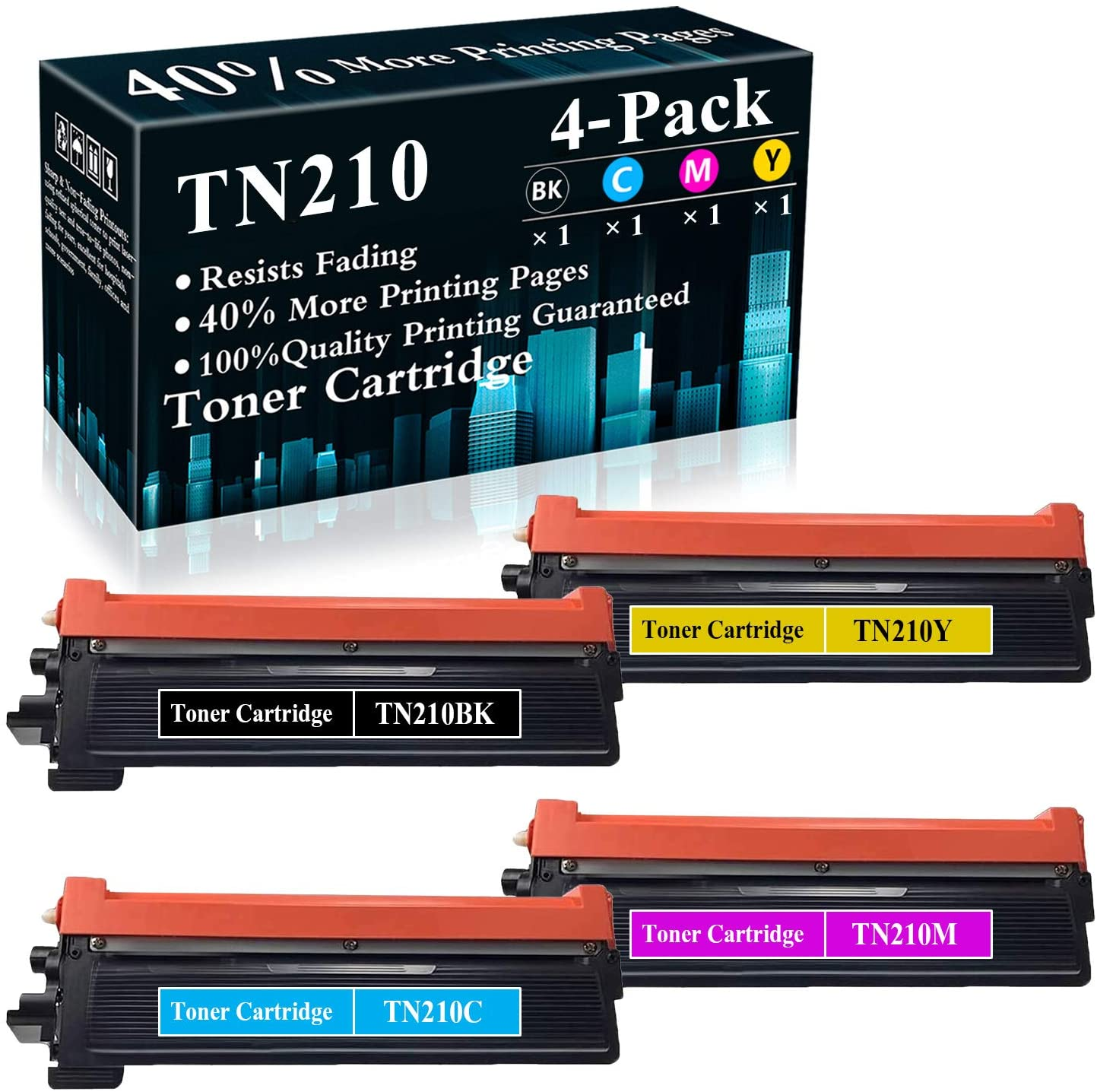4-Pack (BK/C/M/Y) TN210 TN210BK TN210C TN210M TN210Y Compatible Toner Cartridge Replacement for Brother HL-3040CN 3045CN 3075CW 8370 MFC-9010CN 9125CN 9325CW DCP-9010CN Printer,Sold by TopInk