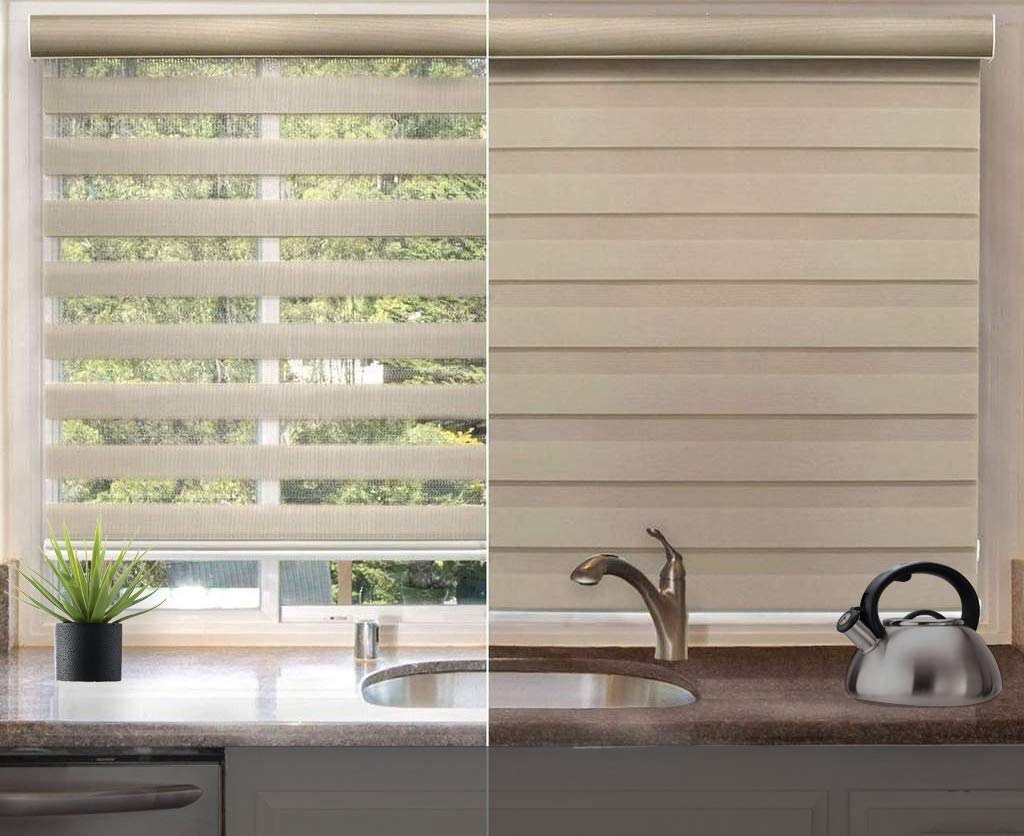 spotblinds Custom Cut to Size Corded Zebra Roller Shades - Dual Layer Blinds - Sheer or Privacy Light Control for Day and Night Window Drapes (60