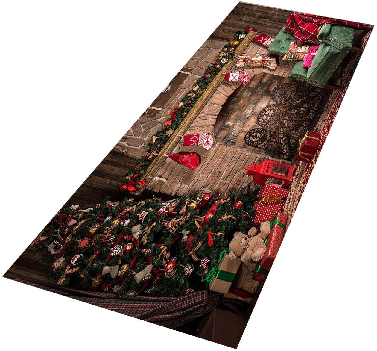 Crafttable 2 Pieces Santa Claus Kitchen Rug Set, Anti-Fatigue Kitchen Floor Mat, Non Slip Standing Carpet, 15.7x23.6+ 15.7x47.2 in, 30