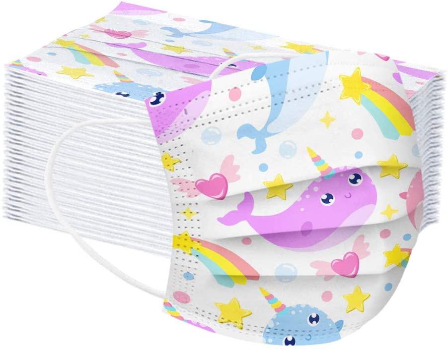 kjhgk 50PCS Cute Rainbow Animals Printed Shields For Kids, 3 Ply Ear Loop Comfortable Dustproof Face Bandanas For Boys Girls
