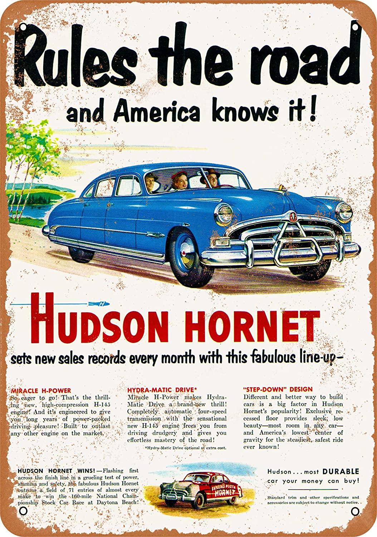Wall-Color 7 x 10 Metal Sign - Hudson Hornet - Vintage Look