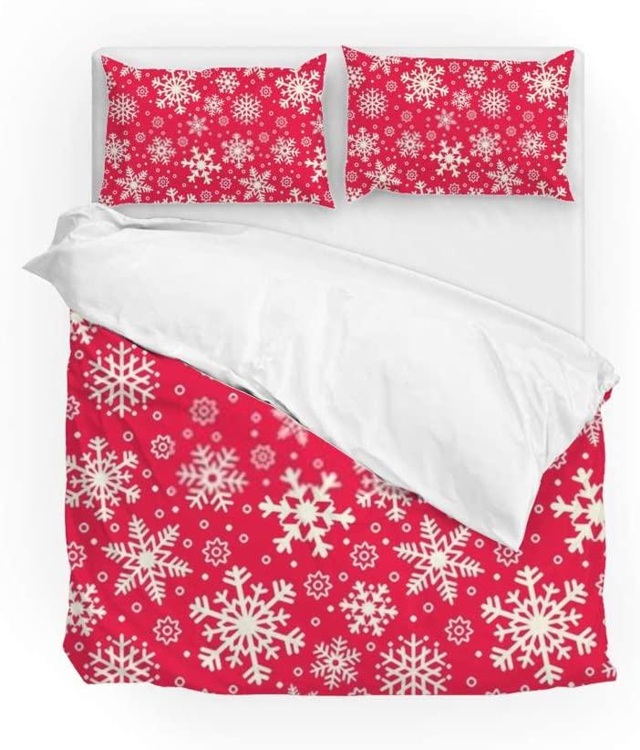 Bedding Cover Set Comforter Cover Duvet Cover, 3 Piece Bedding Set Twin Size Snowflake Christmas Home Decor QuiltCover Pillow Shams