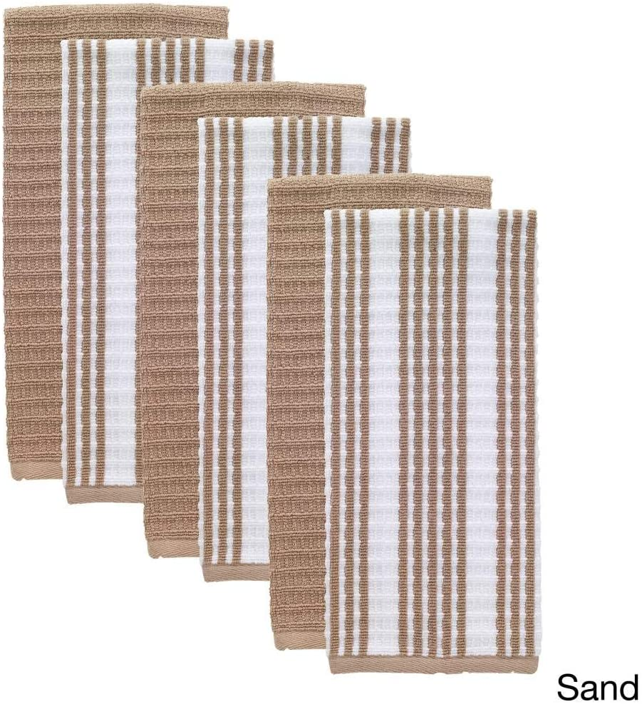 N2 Set of 6 Oversized Sand Brown Striped Theme Kitchen Dish Towel Set, Sleek Trendy Classic Solid Color Linen Pattern Cloths Highly Absorbent Soft Plush Vibrant Vertical Stripes Classic, Cotton Terry