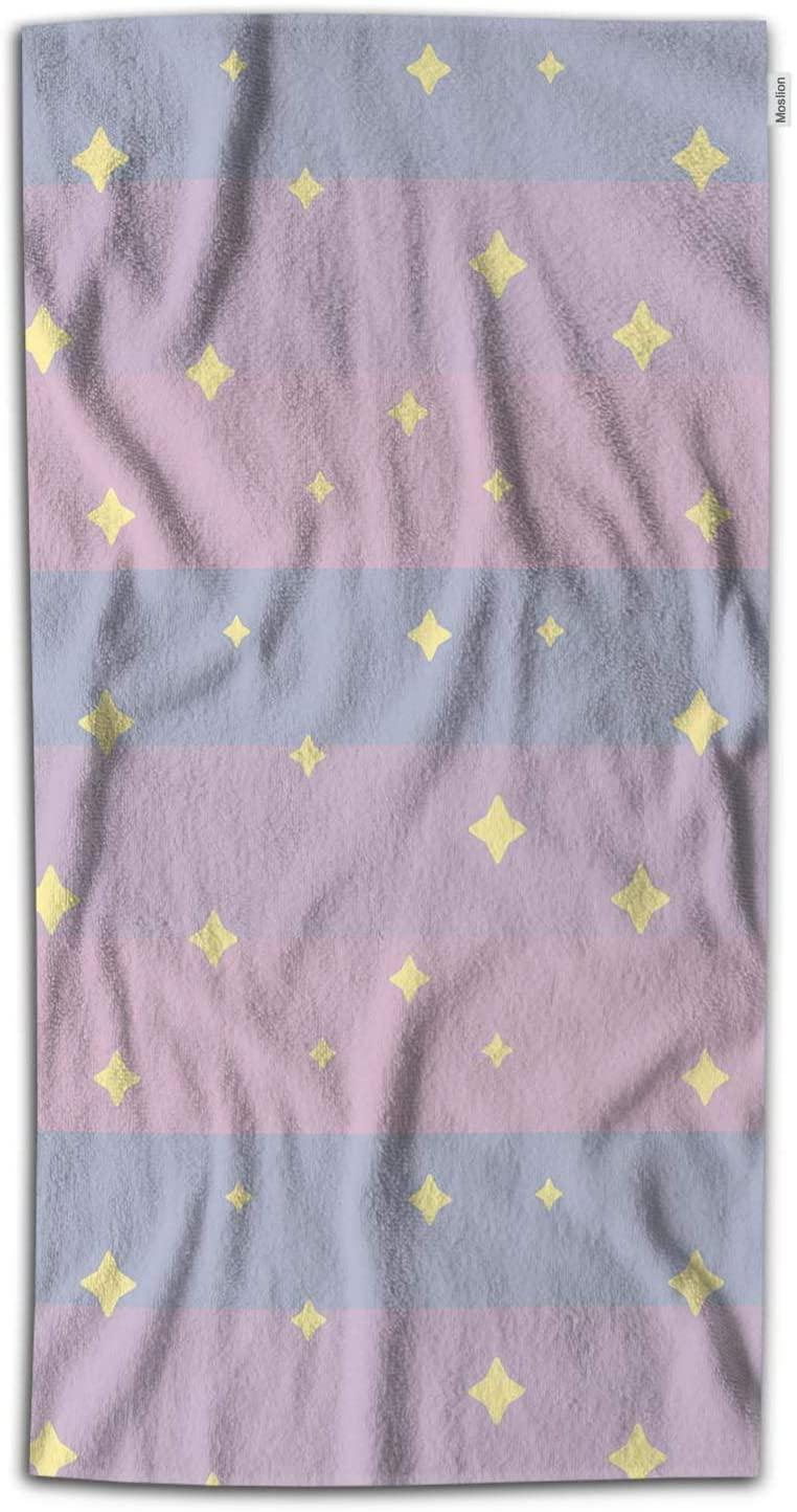 Moslion Star Bath Towel Yellow Cute Fantasy Night Stars in Pink Blue Stripes Sunrise Sky Towel Soft Microfiber Baby Hand Beach Towel for Kids Bathroom 32x64 Inch