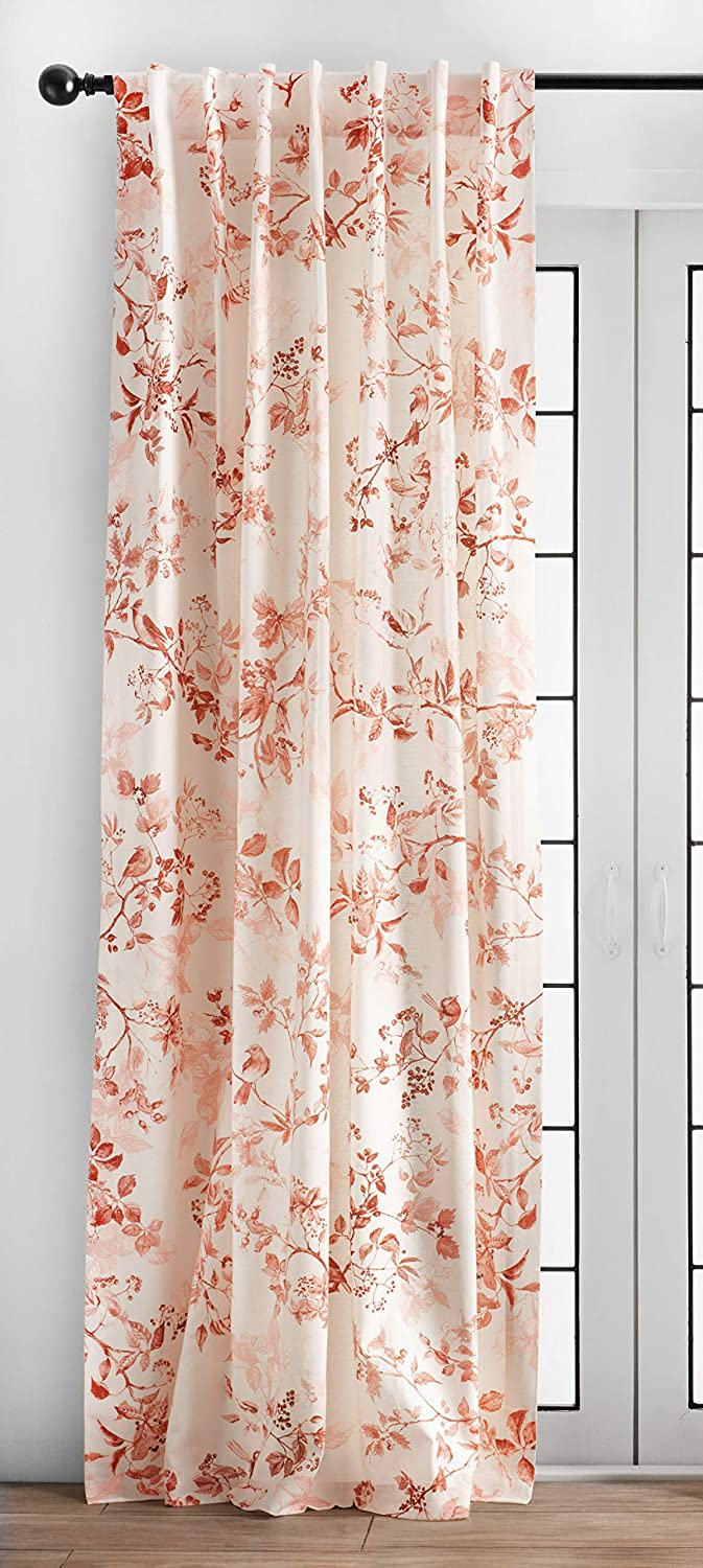 Maison d' Hermine Equinoxe 100% Cotton Curtain One Panel for Living Rooms Bedrooms Offices Tailored with a Rod Pocket and Loop for Easy Hanging (Terracotta, 50 Inch by 84 Inch).