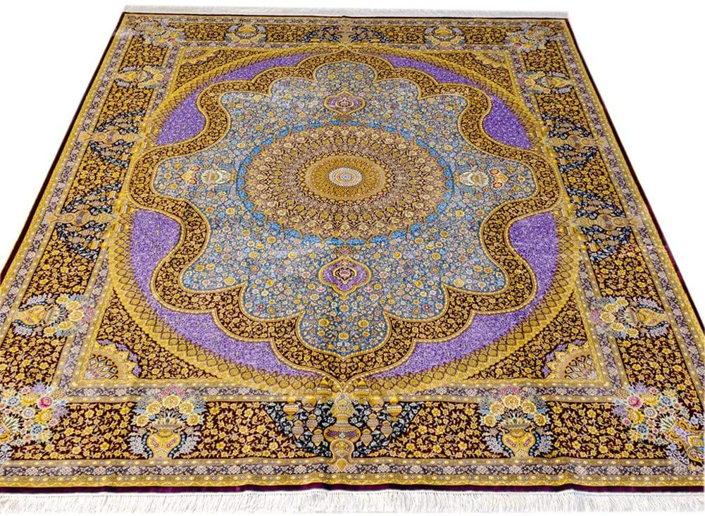 Yilong Carpet 8x10ft 100 Percent Handmade Silk Area Rug Hand Knotted Chinese Oriental Rugs 8x10 Living Room Rug Bedroom Rug Study Room Rug (Blue&Crimson)