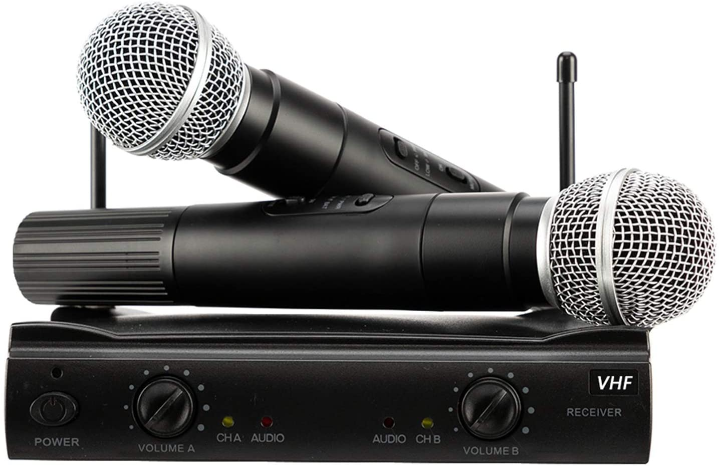 PGX-58 VHF Wireless Microphone System Dual Handheld 2 x Mic Cordless Receiver Black - Quality Musical Instrument Accessories for Karaoke Singing, Speech, Wedding, Stage and Outdoor Activity