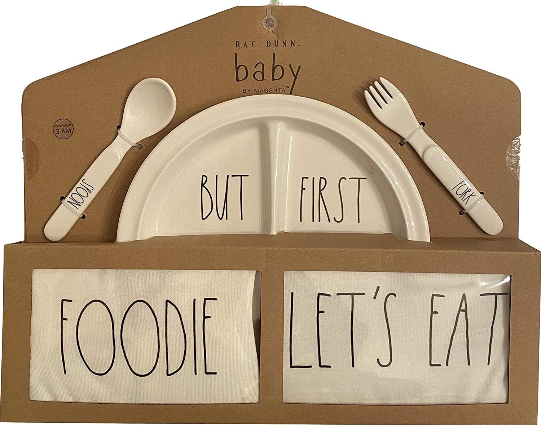Rae Dunn Baby 5 Piece Gift Set (Melamine Plate, Fork, Spoon, Bandana Bib, Long Sleeve Bodysuit)
