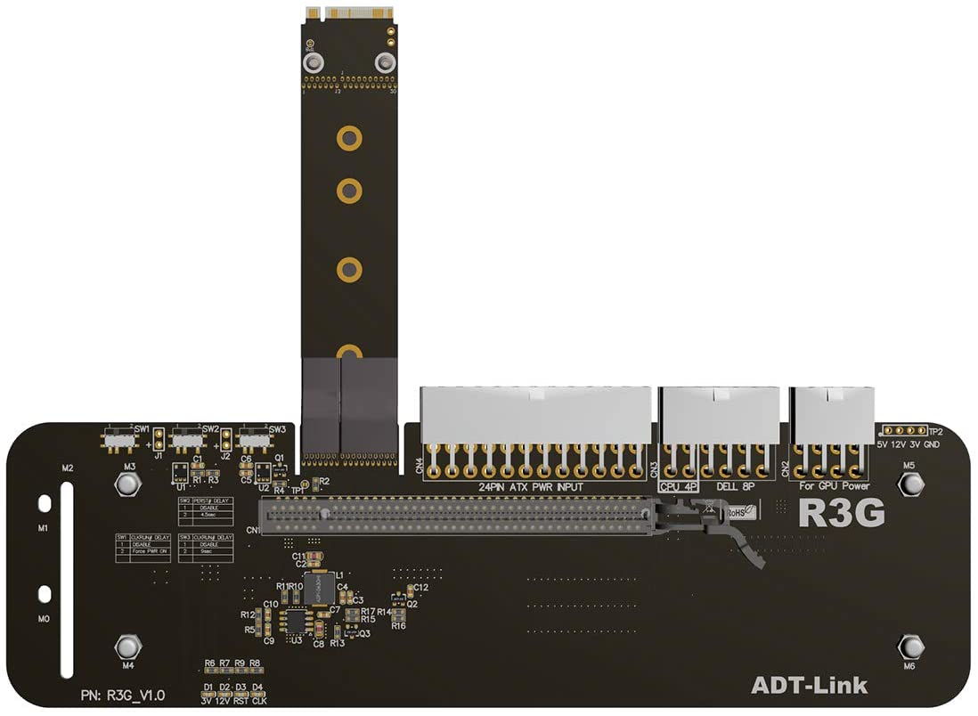 ADT-LINK M.2 Key M NVMe External Graphics Card Stand Bracket with PCIe3.0 x4 Riser Cable 25cm 50cm 32Gbs for ITX STX NUC VEGA64 GTX1080ti (50CM,R43SG)