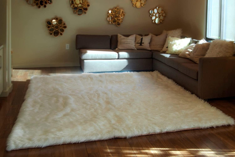 White Shaggy Fur Faux Fur Rug Rectangle Shape Plush Soft Modern Fur Rug Living Room Area Rug (8x10)