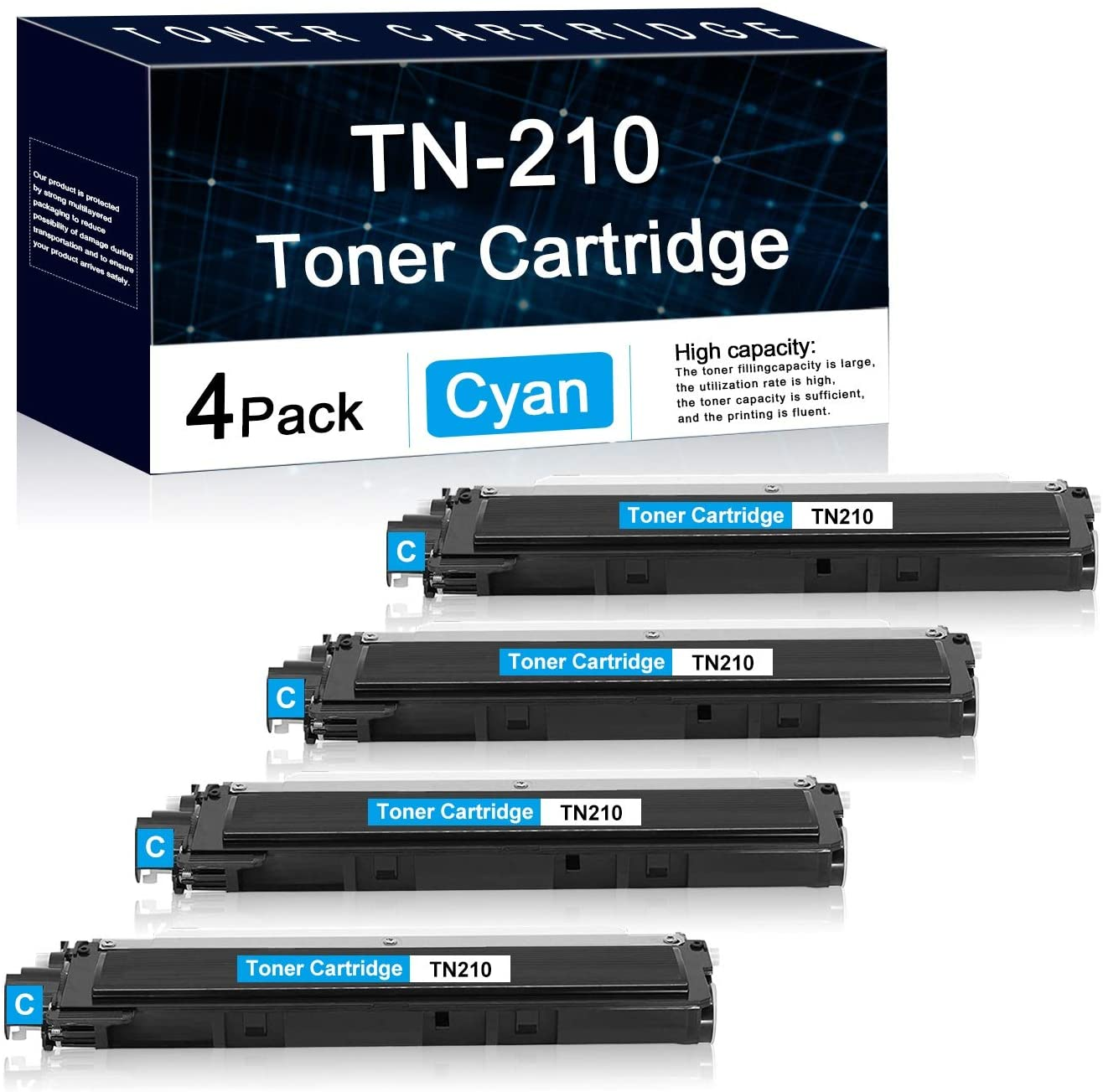 4 Pack Cyan TN210 Compatible Toner Cartridge Replacement for Brother HL-3040CN 3045CN 3070CW 3075CW MFC-9010CN 9120CN 9125CN 9320CN/CW 9325CW DCP-9010CN HL-8070 HL-8370 Printers Toner