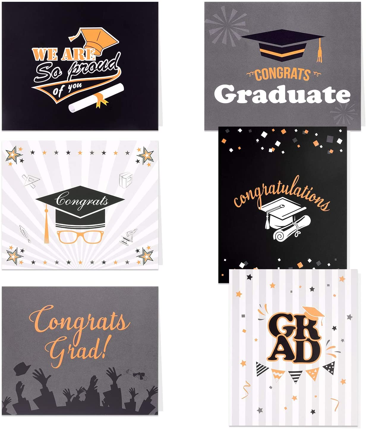 TUPARKA 36 Pack Graduation Cards 2020, Grad Congratulations Cards Bulk,Congrats Greeting Cards Set with 36 Envelopes for Graduation Party Favors 2020,6 Styles,4x4.75 inches