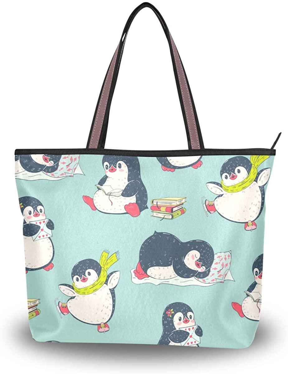 Woman Tote Bag Cute Penguin Shoulder Handbag for Work Travel Business Beach Shopping School