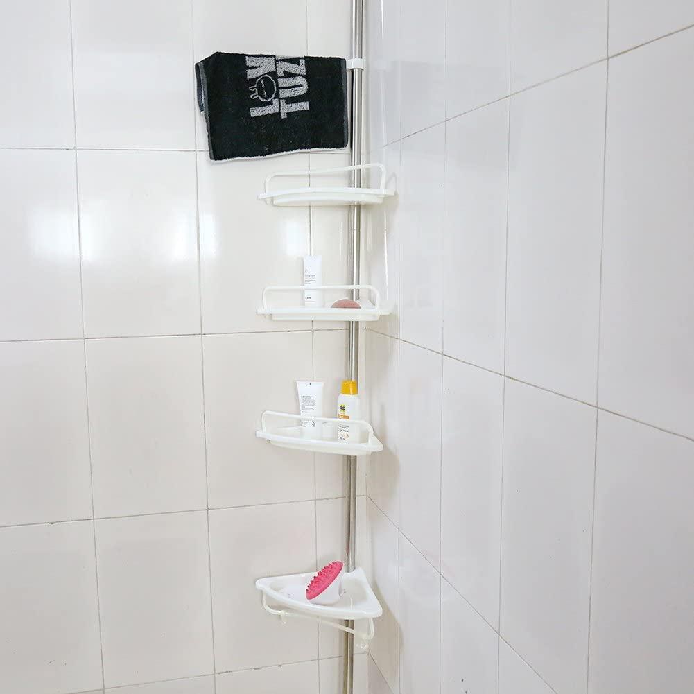 Estink Bathroom Cornor Shelf, New 4-Tier Adjustable Tension Cornor Pole Caddy, Basket for Shampoo, Soap, Conditioner, Razors
