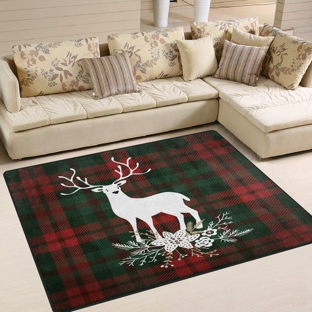 ALAZA Deer Flower Christmas Plaid Buffalo Area Rug Rugs for Living Room Bedroom 7' x 5'