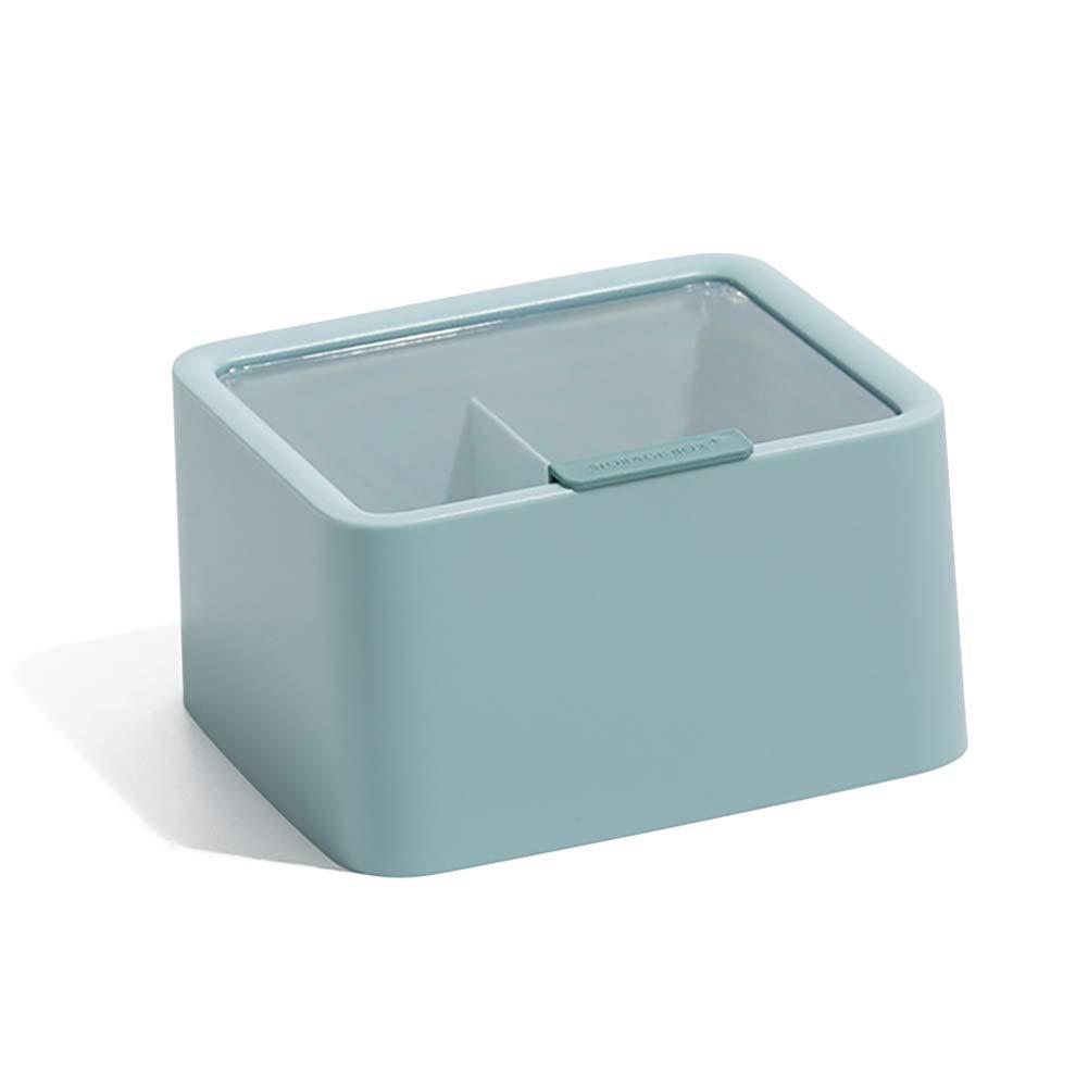 Yehapp Simple Compartment Storage Box Desktop Organizer Box with Transparent Lid For Storage Cotton Swab Makeup Cotton Lipstick Hairpin