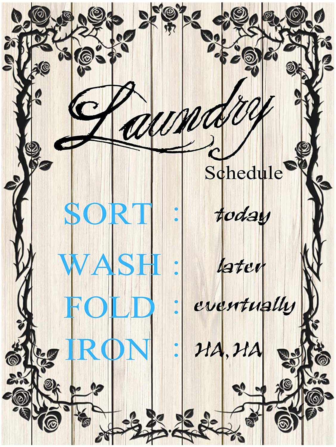 Original Retro Design Laundry Schedule Solid Wood Signs Wall Art|Natural Wooden Board Painting Wall Decoration for Laundry Room