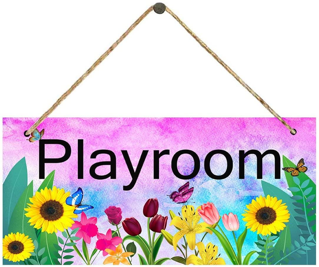 Sobzy Playroom' Kids Sign,Vintage Sunflower Door Sign Plaque Kids Room Decor, Home Office Nursery Children's Bedroom Classroom Playroom Decoration