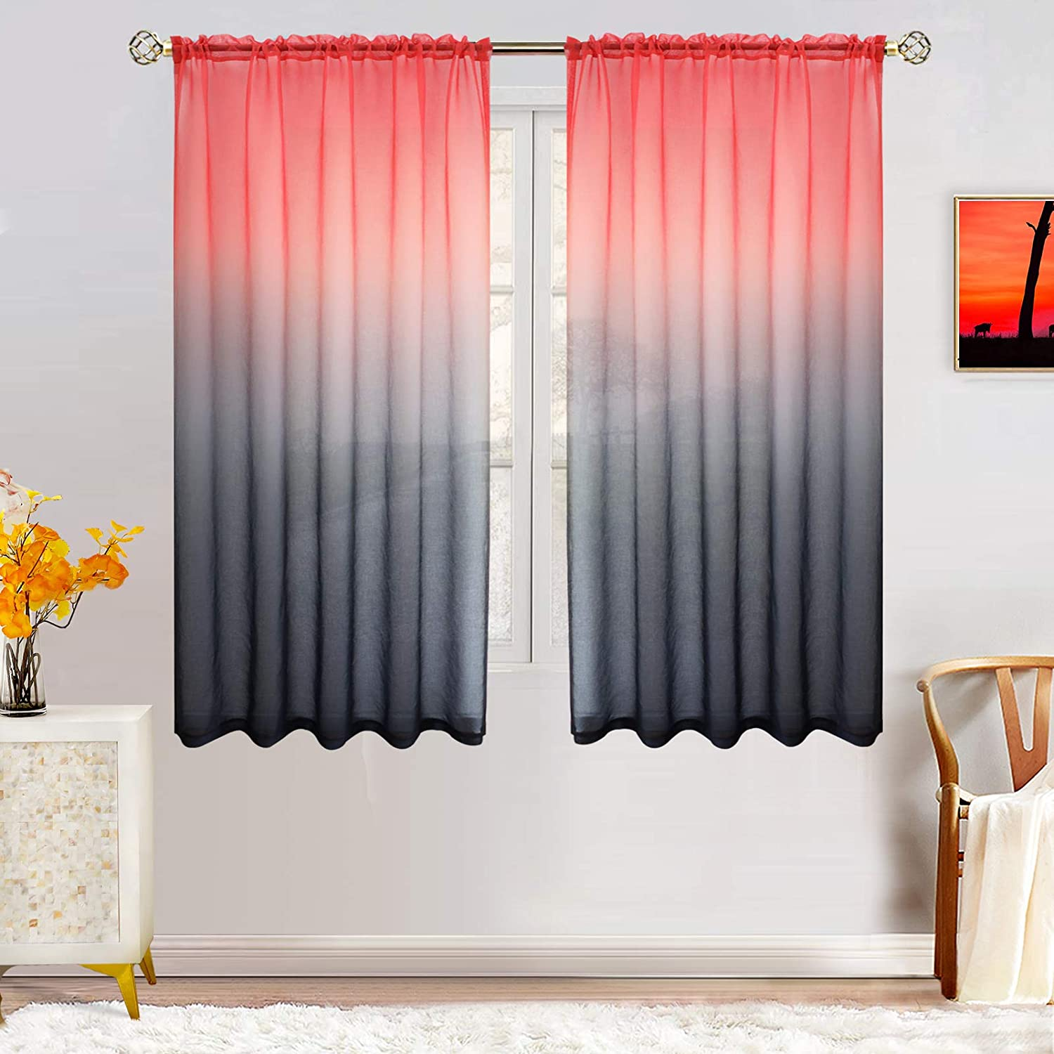 Faux Linen Ombre Sheer Curtains for Bedroom Girls Room Decor, Two Tone Curtain Drapes Light Filtering Semi Gradient Rod Pocket Window Panels for Living Room (2 Panels, 52 x 63 Inch, Red and Black)