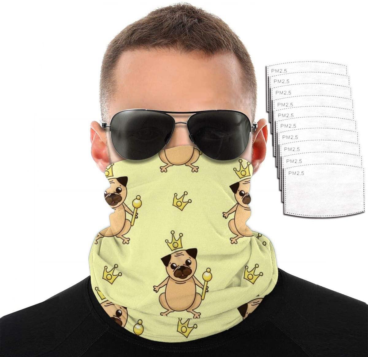 Headwear Unisex Royal Pug Variety Face Towel Headbands Insert Carbon Filter Bandana Neck Gaiter Face Protector For Dust Outdoors