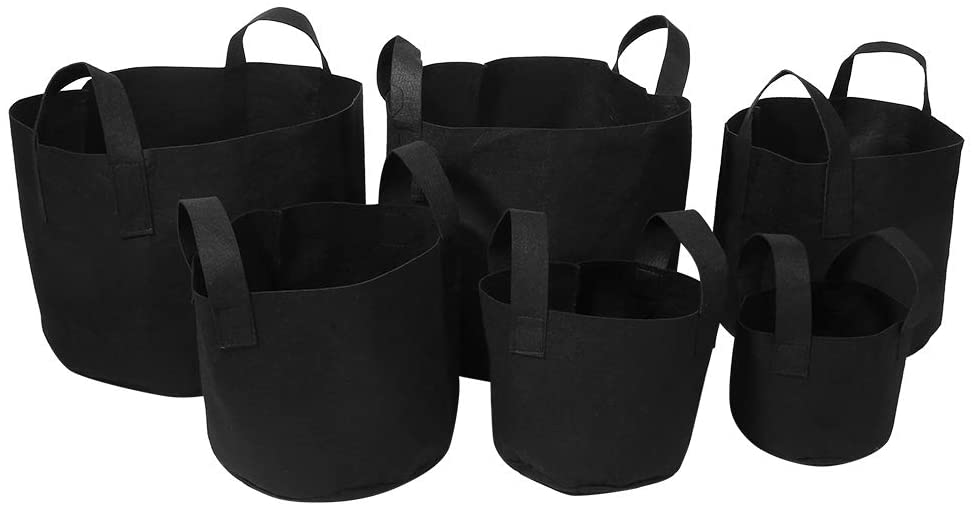 Zerone Fabric Plant Grow Bags, Plant Grow Pots Container Black Aeration Grow Bag with Handles(14 x 18cm(1 Gallon,Pack of 6 ))