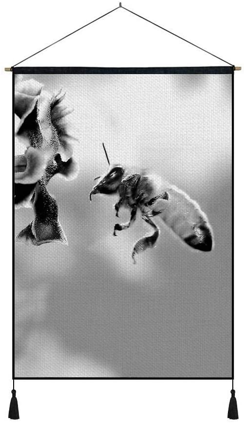 DZ.HAIKA Bee - Animal Picture Art Print Cotton Linen Home Wall Decor Hanging Posters(18x26inch Black and White)