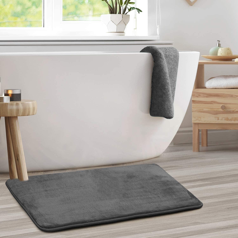 Clara Clark Bath Mat Bathroom Rug - Absorbent Memory Foam Bath Rugs - Non-Slip, Thick, Cozy Velvet Feel Microfiber Bathrug, Plush Shower, Toilet Floor Bathmats Carpet - Gray - Large Size 20�x32�