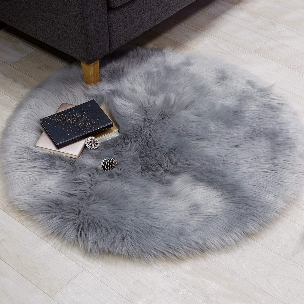 Supermee Gray Fur Rug Grey Rugs for Bedroom Grey Fuzzy Rug Grey Fluffy Rug Grey Furry Rug Grey Faux Fur Rug Grey Rug Sheepskin Rug for Girlsroom, Livingroom 3x3 Feet Round (Grey)
