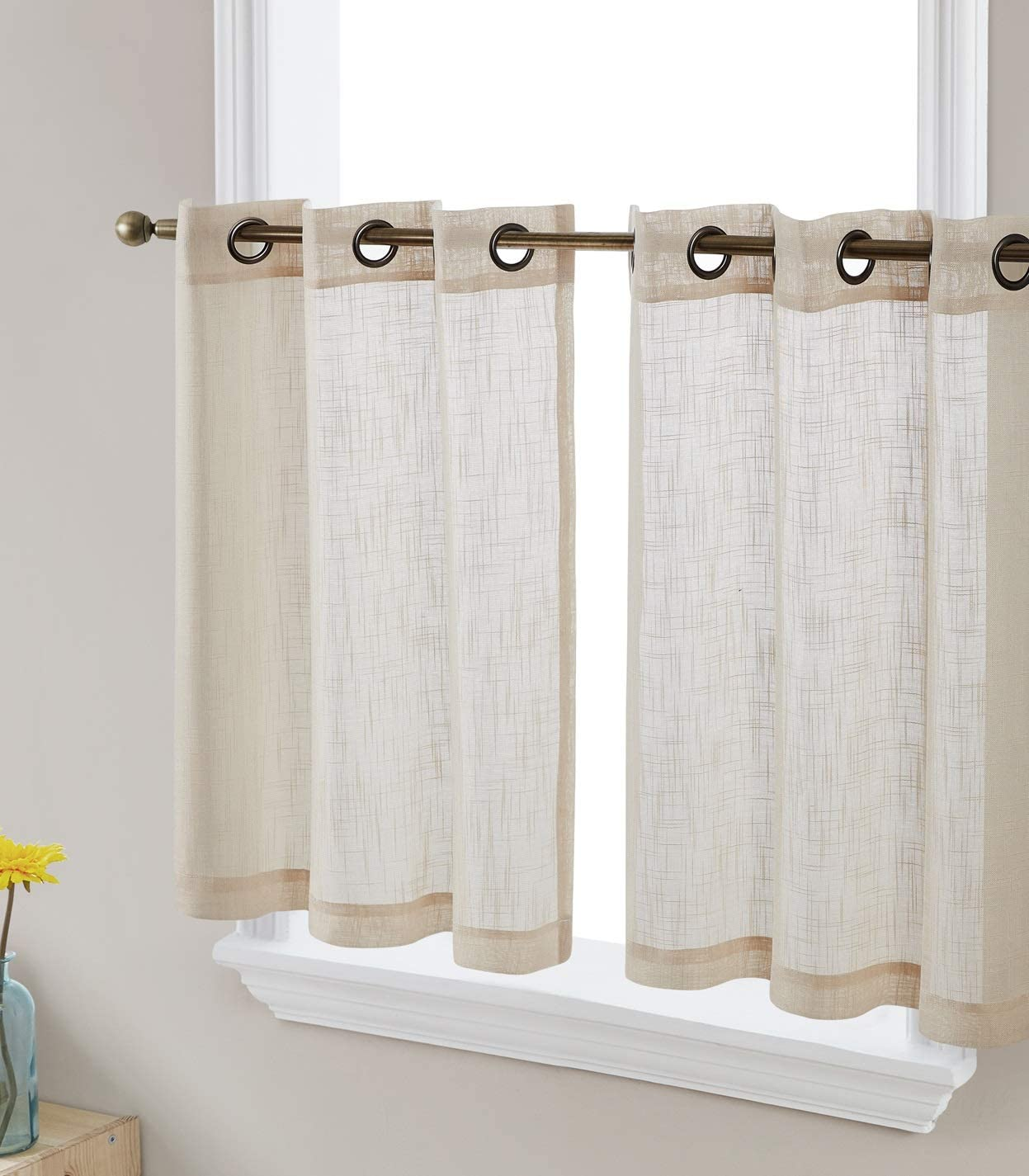 HLC.ME Abbey Faux Linen Textured Semi Sheer Privacy Light Filtering Transparent Grommet Short Thick Cafe Curtain Tiers for Small Windows, Kitchen & Basement, Set of 2 (35 W x 2 4 L, Beige)