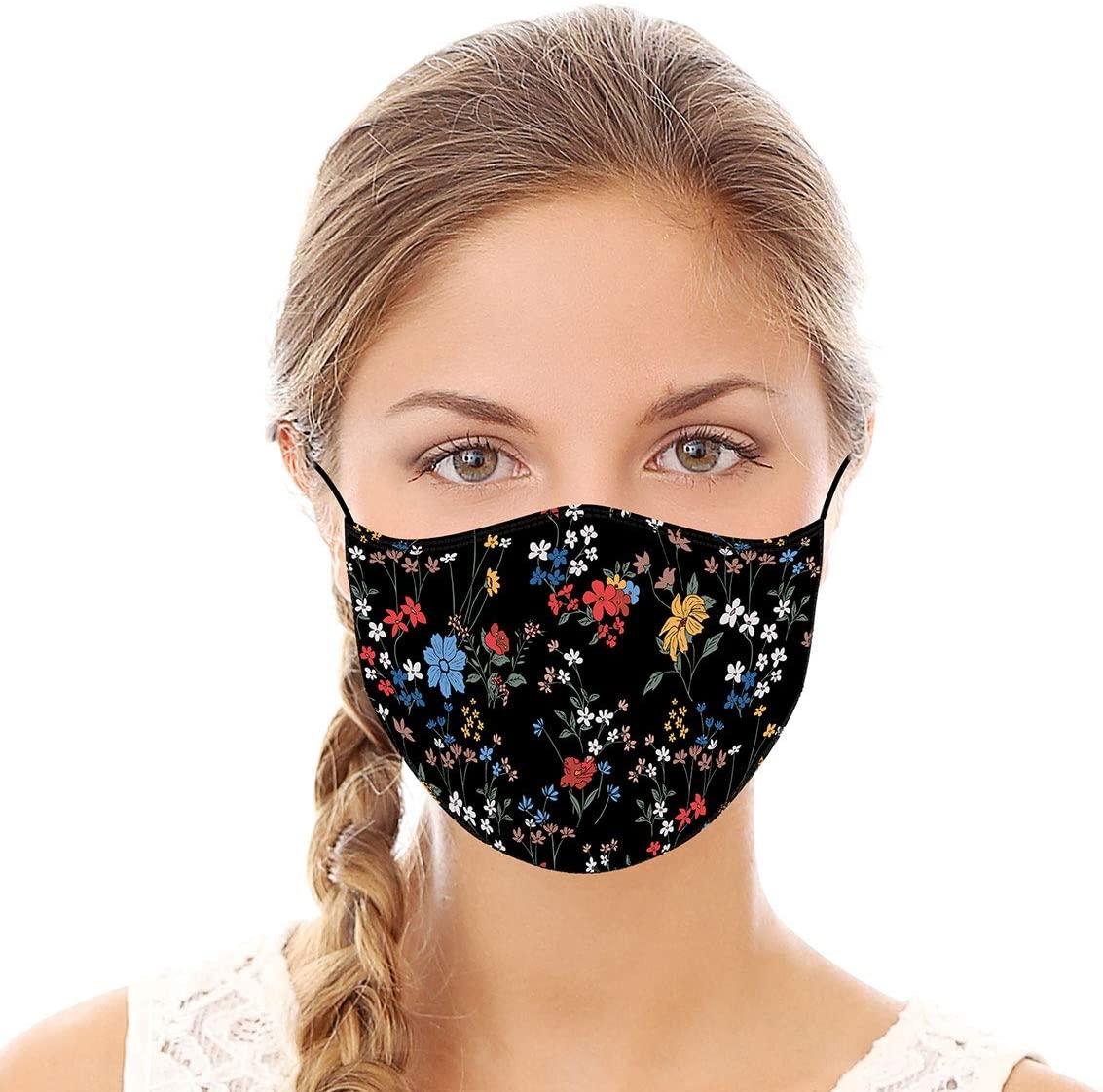 Black Floral Reusable Cloth Face Mask