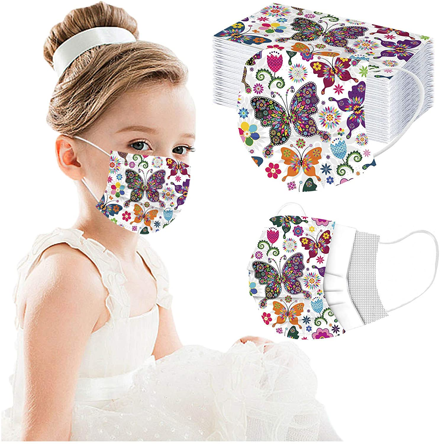 (7-10 Days Arrived) - Kids Butterfuly Printed Disposable Face Bandanas Adjustable Earloop Face Covering 3 Layer Breathable Anti-dust Face_Mask Outdoor Protective