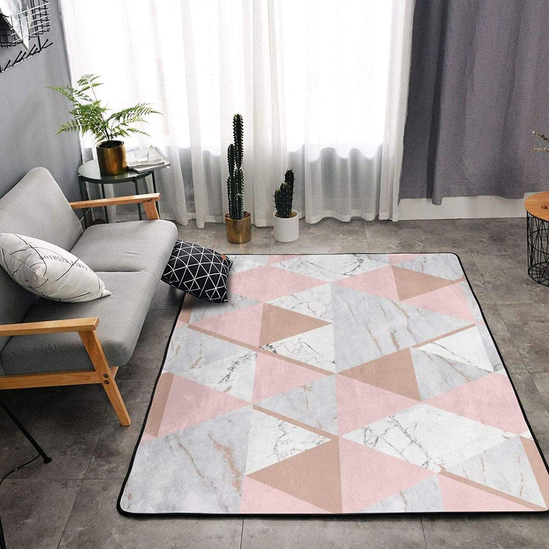 Area Rug Soft Fluffy Carpet for Bedroom Kids Teens Room, Modern Floor Mat Oversize Door Mat Plush Nursery Rugs for Boys Girls, Rose Gold Grey Marble 84x60 in