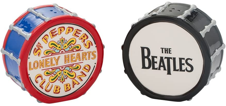 Vandor The Beatles Drums Ceramic Salt and Pepper Set (72030),Black/White/Red/Blue