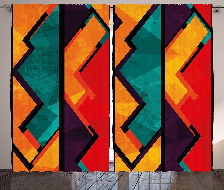 Ambesonne Modern Curtains, Geometric Modern Art Design with Black Bold Zig Zag Borders Pattern, Living Room Bedroom Window Drapes 2 Panel Set, 108 X 90, Orange Teal