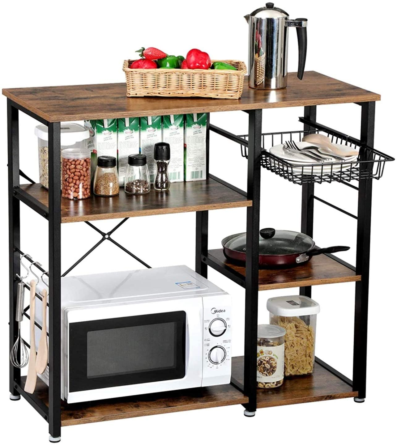SCKTOO Microwave Stand 3-Tier Shelf, Utility Microwave Oven Stand Storage Cart Workstation Shelf with Wood Table,Stable Retro Metal Frame Rack for Kitchen