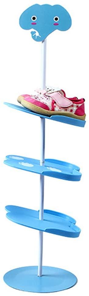 Beher Shoes Rack Multilayer Stand Kids Shoes Rack Space Saving Children Shoes Shelf Portable Boots Storage Organizer Shoes Holder for Children (Blue Elephant)