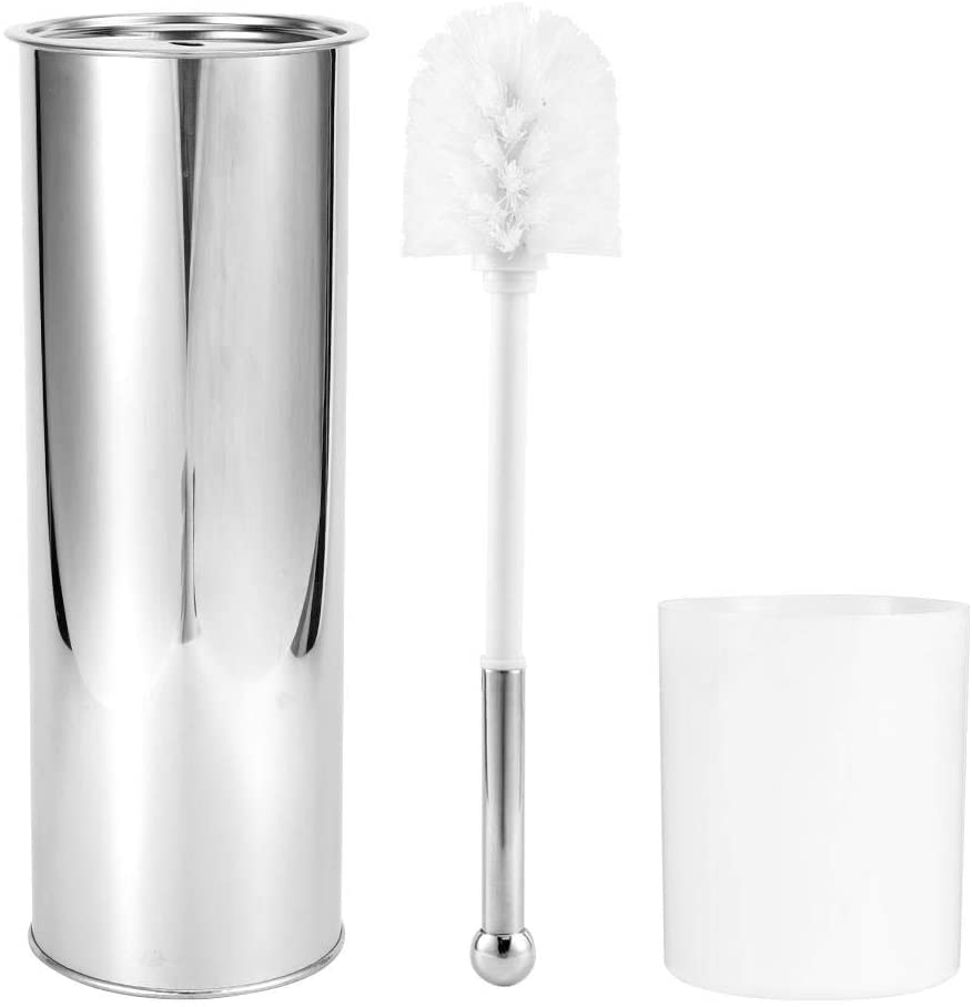AMONIDA Solid Toilet Brush with Stainless Steel Free Standing Storage Box and ergonomically Designed Handle, Toilet Brush Set Toilet Cleaning Brush for Bathroom Home Cleaning