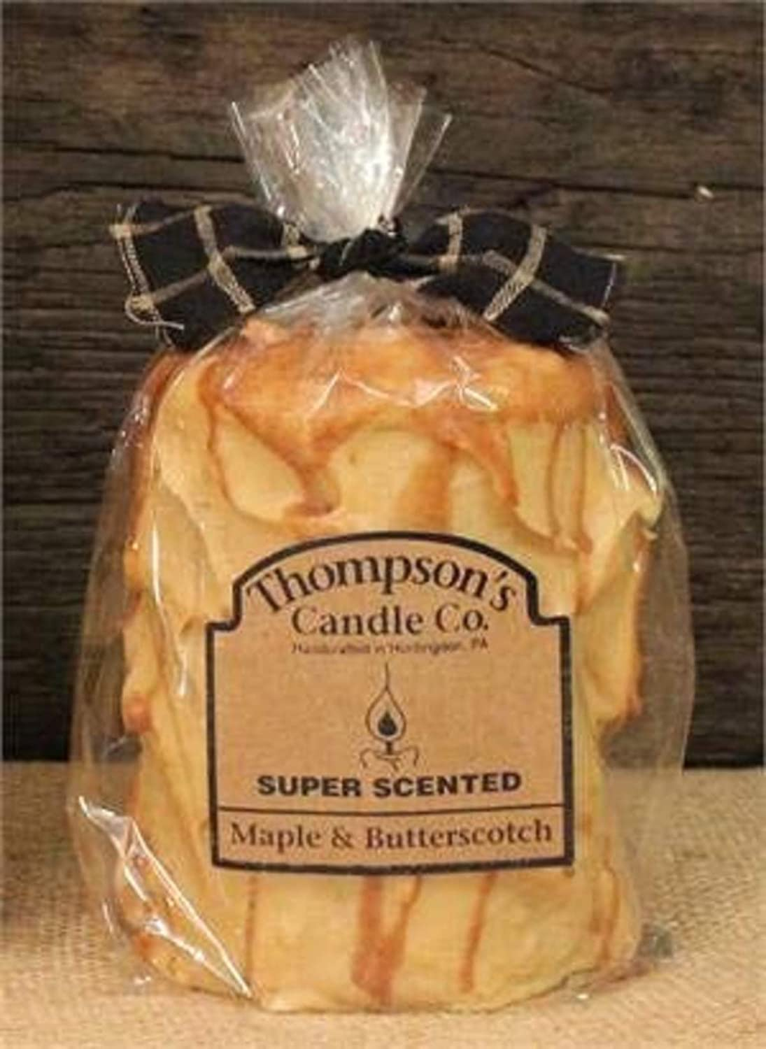 Thompson's Candle mbmp Super Scented Maple and Butterscotch Medium Pillar, 4.25-inch Tall