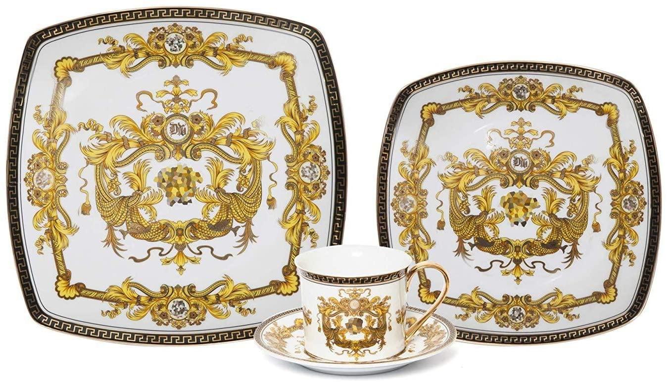 Royalty Porcelain Fancy Square Greek Key 16-pc Dinnerware Set Medusa White, Premium Bone China